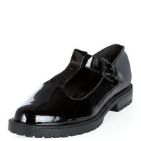 Black Patent Chunky T-Bar Dolly Shoes
