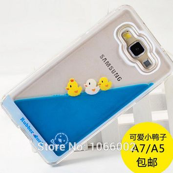 Flowing Liquid Cute Yellow Duck Clear Capa Case for Samsung Galaxy A5 Note 5 S8 S8 Plus S7 s6 Edge iPhone 7 7 Plus 6 6S Fundas