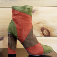 "Paw Rust Olive Patchwork Fabric Ankle Boot - 4"" Cylinder Heels"