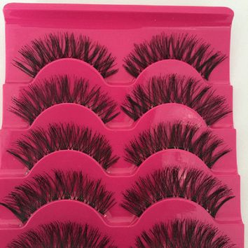 5 Pairs Natural Long False EyeLashes Makeup Beauty Handmade Thick Fake False Eyelashes A539