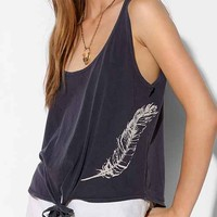 4th & Rose Front-Tie Feather Tank Top- Blue