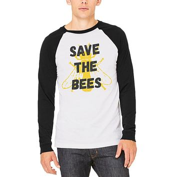 Honey Bee Save the Bees Mens Long Sleeve Raglan T Shirt