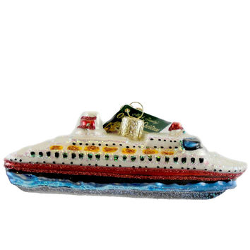 Old World Christmas CRUISE SHIP Glass Boat Carnival 46030