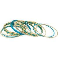 Heirloom Finds Gold Tone Crystal Turquoise Enamel Satin 11 Bangle Bracelet Stack - Like Love Buy