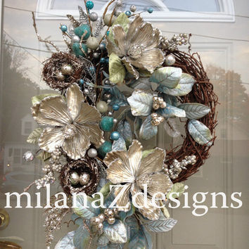 Silver Christmas Wreath, Blue Hanukkah Wreath, Winter Holiday Decoration, Designer Floral Arrangement, Modern and Glamorous Home Door Decor