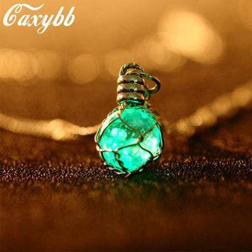ac NOOW2 1PC fashion New Creative Luminous Crystal Ball Chic Glow In The Dark charming Necklace fine jewelry 2color