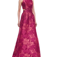 Women's Floral-Jacquard Ball Gown, Rouge - Theia - Rouge
