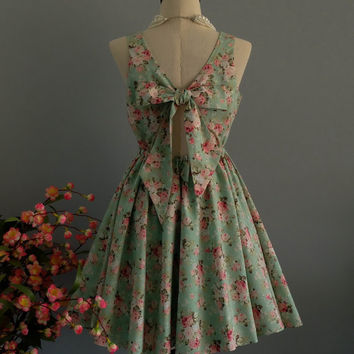 A Party V - Lolita Dress Sweet Backless Dress Mint Green Floral Floral Dress Party Dress Wedding Mint Bridesmaid Dress Summer Sundress XS-XL