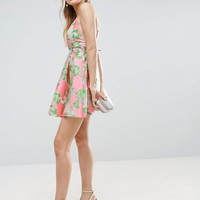 ASOS SALON Floral Organza Pinny Mini Prom Dress at asos.com