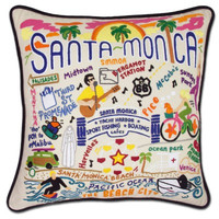 Santa Monica Hand Embroidered Pillow