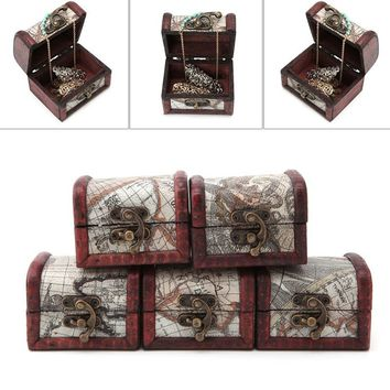 1Pcs Vintage Wooden Map Storage Box Metal Locking Jewelry Cufflinks Chest Case   VIK