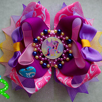My Little Pony Hair Bow , Princess Cadance hair  Bow   , My little pony stacked bow , ott bow