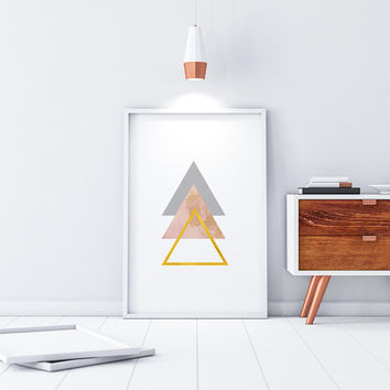 Geometric Wall Art Abstract Painting Digital Download Gold Foil Art Downloadable Prints Triangle Decor Printable Art Minimalist Decor