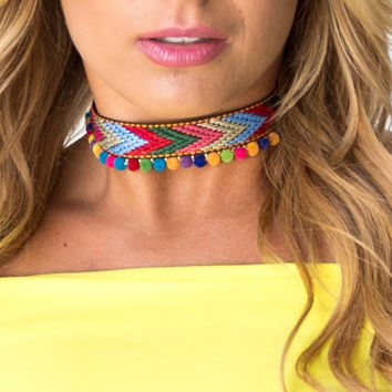 Walk This Way Pom Pom Choker Necklace