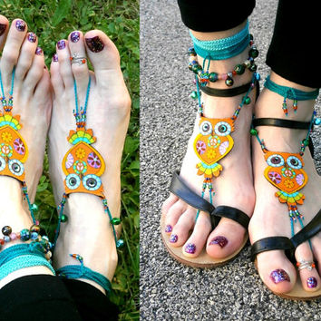 Psychedelic Owl Crochet Barefoot Sandals - Handmade Bohemian Cotton Fabric Jewelry - M4 Model
