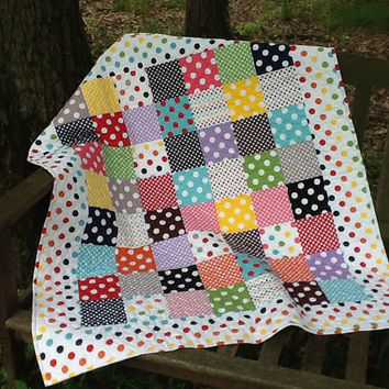 Polka Dot Baby Quilt - Bright Dot Crib Quilt - Quilted Throw