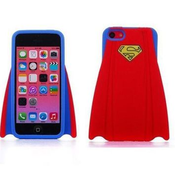 Super Hero Stylish Superman's Capes Design Soft Silicone Back Case Cover Protective Skin For Iphone 5 5s Red
