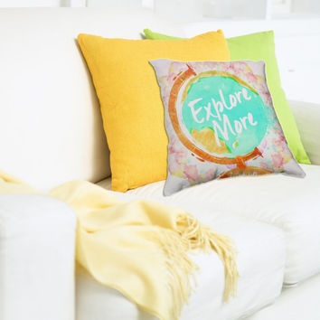 Explore More Pillow - Watercolor Wanderlust Pillow - Pastel Home Decor - Gift for a traveler - Gypsy Quote Throw Pillow - Colorful Pastels