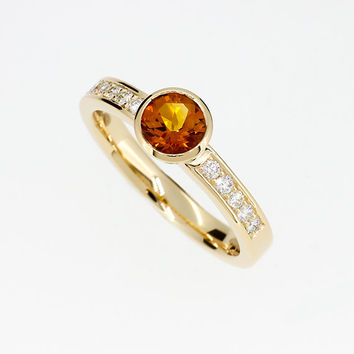 citrine engagement ring, yellow gold, diamond engagement, yellow, citrine, bezel, solitaire, unique engagement,  yellow engagement, diamond