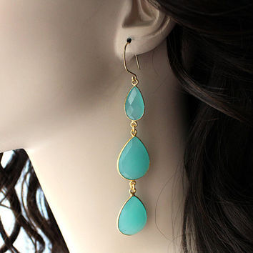 Extra Long Aqua Chalcedony Earrings, 3 tiers Gemstone Dangle, 24k Gold Vermeil, Genuine Blue Green Gemstones Cascade