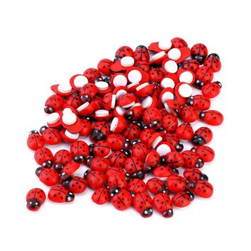 100PCS /bag Baby Toys Wall Stickers Wooden Ladybug Sponge Easter Home Decoration 3D Wall Sticker Scrapbooking Craft red
