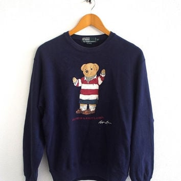 BIG SALE 25% Vintage 90's POLO Ralph Lauren Bear Play Wearing Stripped P Wing Snowbeach Blue Crewneck Pullover Sweatshirt Sweater Size M