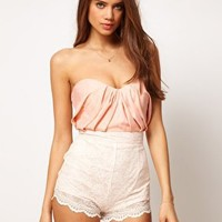 ASOS Playsuit with Lace Bandeau at asos.com