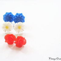 4th of July Earrings 3prs Flower Stud by VintageOoakDesigns