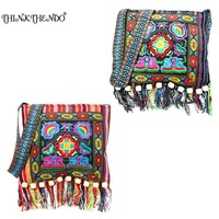 THINKTHENDO Chinese Women Hmong Thai Embroidered Handbag Hill Tribe Totes Messenger Tassels Bag Boho Hippie  Handbag