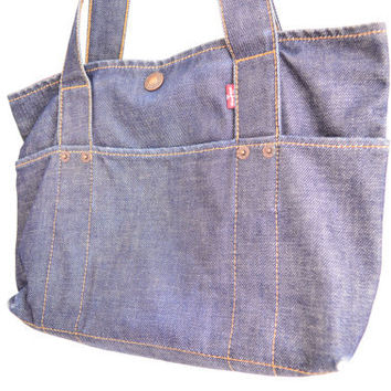 Vintage Levi's Jeans Tote Bag - Dark Blue Jean Handbag - Tablet Tote
