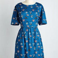 Mid-length Short Sleeves Shift Notably Rotary Dress