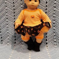 """Will fit Bitty Baby® Cabbage Patch® 15 inch Baby Doll Clothes """"Lil' Jack-o'-lantern"""" Halloween outfit  dress shorts headband socks C4"""