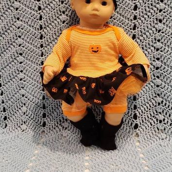 "Will fit Bitty Baby® Cabbage Patch® 15 inch Baby Doll Clothes ""Lil' Jack-o'-lantern"" Halloween outfit  dress shorts headband socks C4"