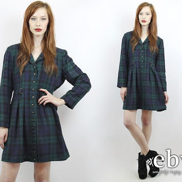 Vintage 90s Green Plaid Babydoll Dress L XL 90s Grunge Dress Green Plaid Dress Plaid Mini Dress Tartan Plaid Dress
