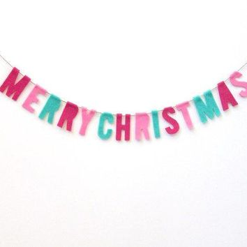 Merry Christmas Felt Banner Petite Felt Room Banner In Fucshia Pink And Green Felt
