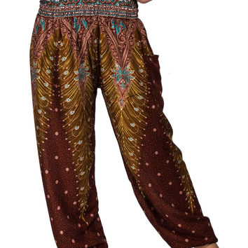 Boho Harem Yoga Pants - Peacock Brown