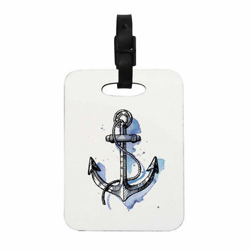 "Kess Original ""Anchor Watercolor "" Blue White Decorative Luggage Tag"