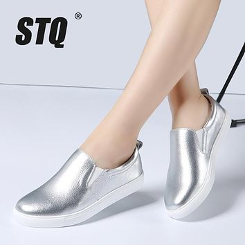 STQ 2018 Spring Women Leather Loafers Fashion ballet flats sliver white black Shoes Woman Slip On loafers boat shoes Moccasins