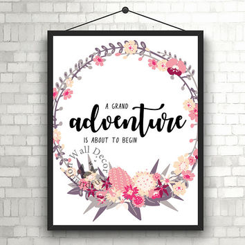 Adventure is begin | Graduation | Flowers wreath | Art Print | Home decor print | Inspiration | Printable | Typography | Motivation Quote