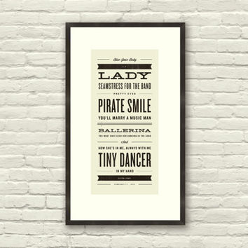 ELTON JOHN Inspired, Tiny Dancer Lyric Poster - 7 x 15 Typography Art Print, Modern Poster, Retro Home, Vintage, Rock Music