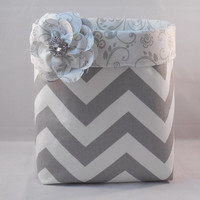Gray and White Chevron Fabric Basket With Gray and White Scroll Liner And Detachable Fabric Flower Pin For Storage Or Gift Giving