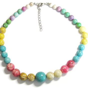 Chunky Colorful Dyed Howlite Bead Necklace