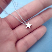 Cute gold silver star pendant necklace, chic charm necklace, delicate everyday necklace - FREE US shipping