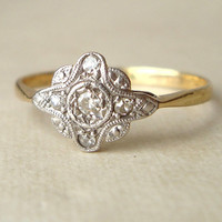 Art Deco 9k Diamond Ring, Antique Diamond & 9k Gold Engagement Wedding Ring Approximate Size US 7.75 / 8