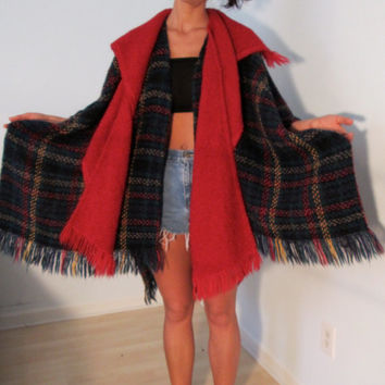 Made in Ireland Vintage Wool Poncho Green Plaid Fringe Red Detachable Scarf Urban Hipster Gypsy Festival Wear