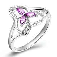 18K White Gold Plated Triple Leaves Purple Crystal Cocktail Ring