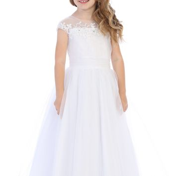 (Sale) Girls Size 8 Tulle Overlay Ruched Girls Communion Dress w. Illusion Neckline