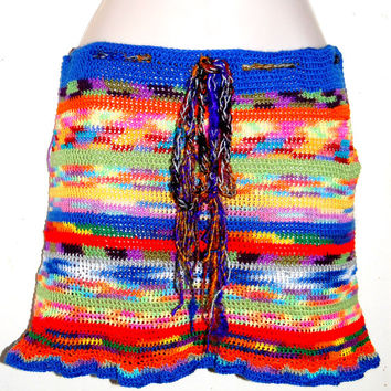 Crochet Mini Skirt, Hippie Crochet Skirt, Burning Man, Coachella Festival, Gypsy Gathering, Mini Skirt Size S