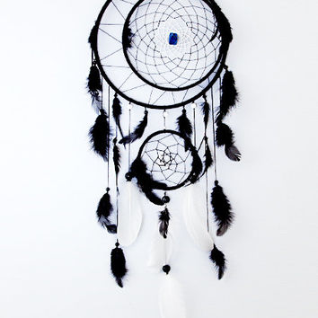 Black Dream Catcher, Large Dreamcatcher, handmade, bead, black and white feathers, home decor, fashion accessory