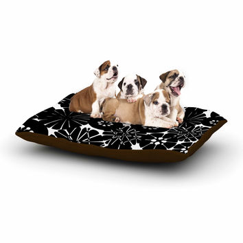 """Amy Reber """"Black Circle Abstract"""" White Pattern Dog Bed"""